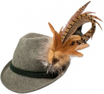 Trachten Felt Hat with Feathers, Grey