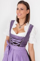 3-piece satin mid-length dirndl with floral pattern