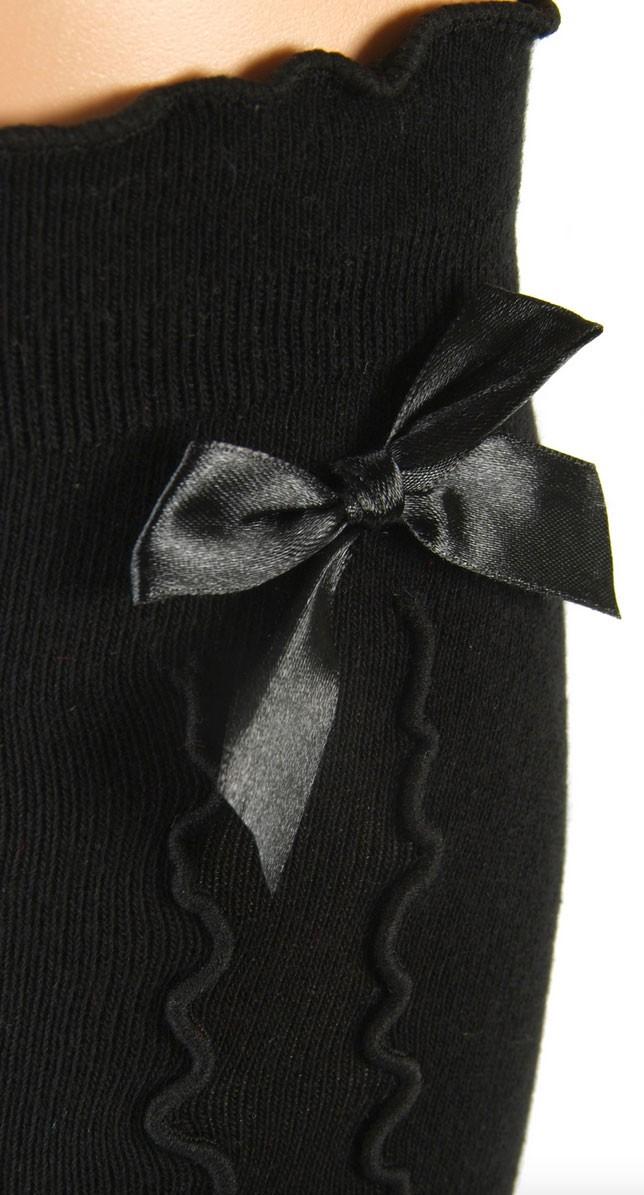 Damskie podkolanówki czarne z falbaną i kokardą