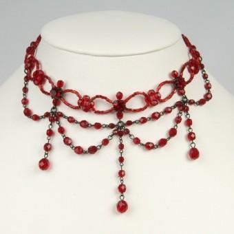 Glasperlen-Collier rot