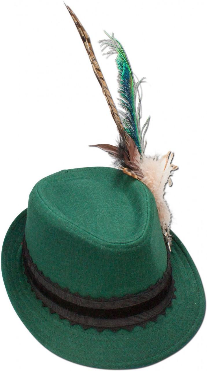 Trachten Leinenhut Pfauenfeder grün