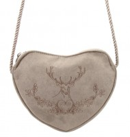 Vorschau: Herzförmige Trachtentasche Hirsch & Eichenlaub taupe-grau