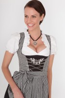 3-piece black gingham dirndl with black apron