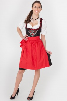 Black 3-piece dirndl with red and black frills