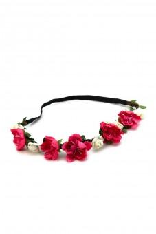 Haarband mit roten Frühlingsblüten