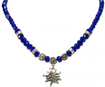 Trachten Pearl Necklace with Edelweiss, Blue