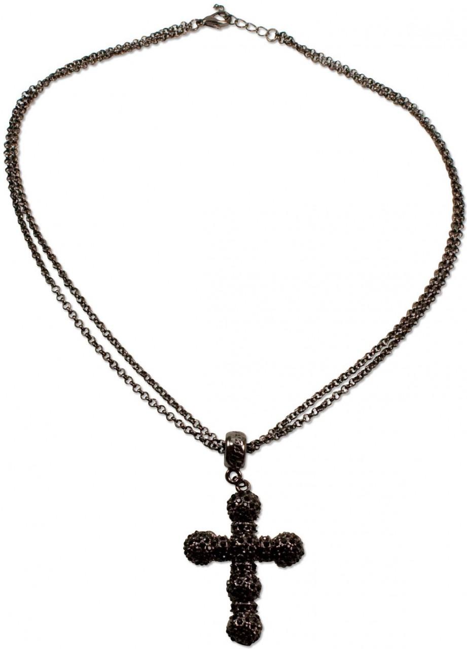 Halskette Strass-Kruzifix schwarz