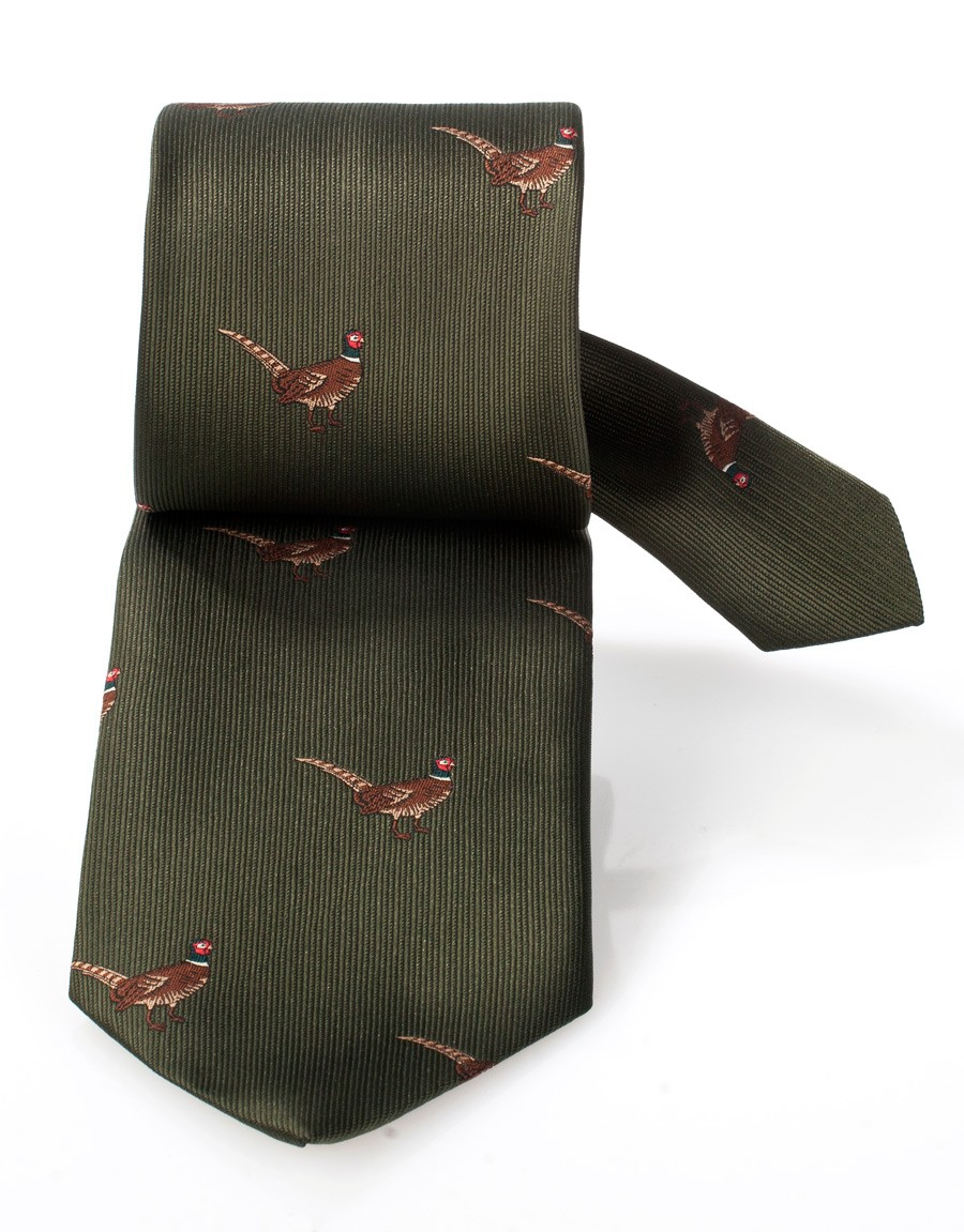 Jagd-Krawatte grün Fasan