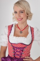 3-piece red mini dirndl with red apron