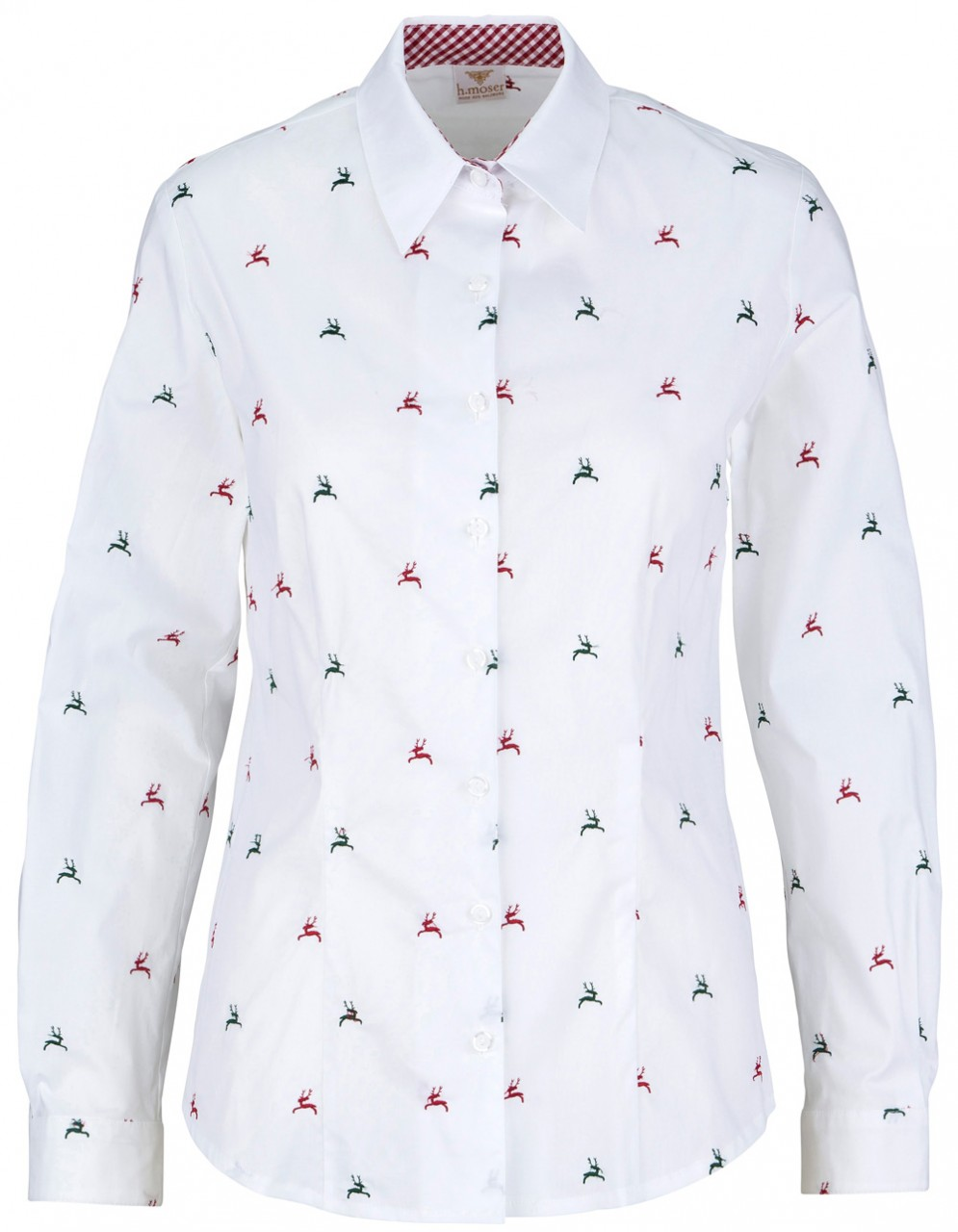 Damenbluse Eugendorf stretch weiß mit rot/tanne