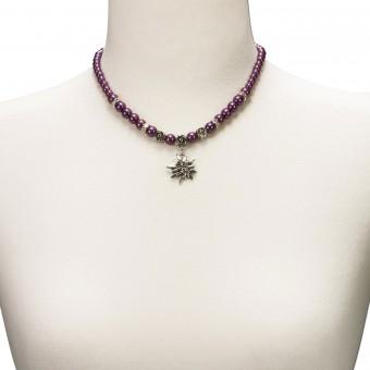Trachtenkette kleines Edelweiß lila