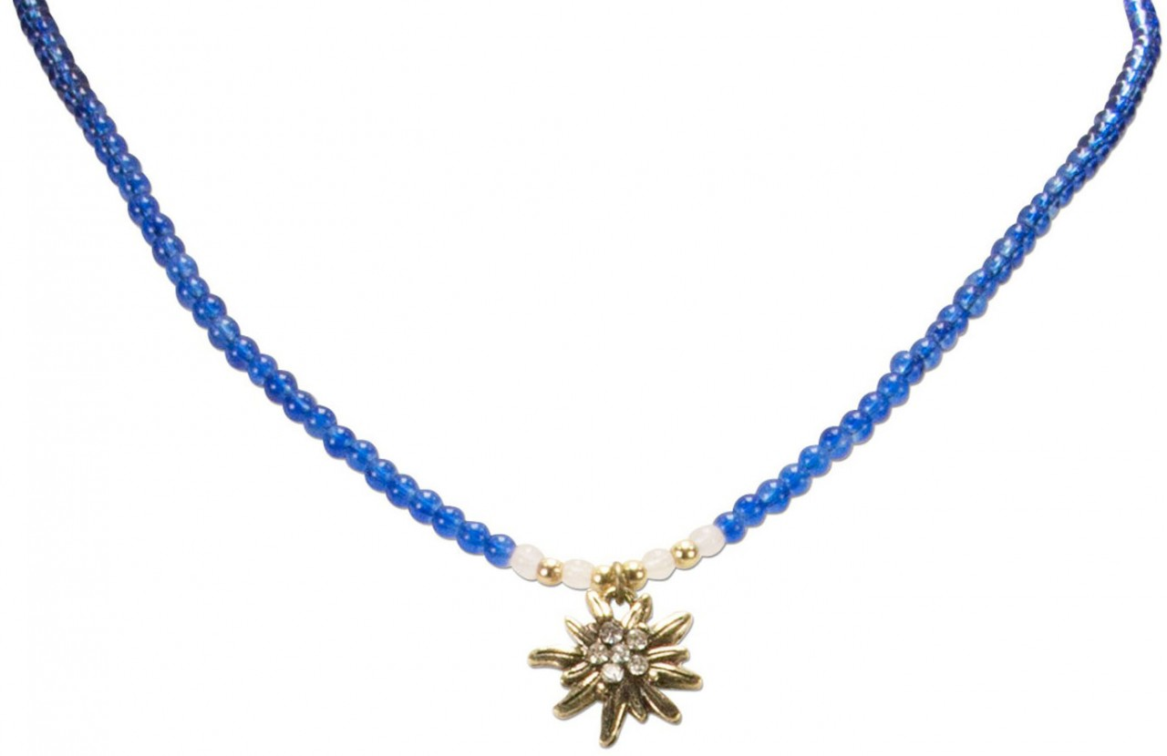 Perlenhalskette Strass-Edelweiß blau