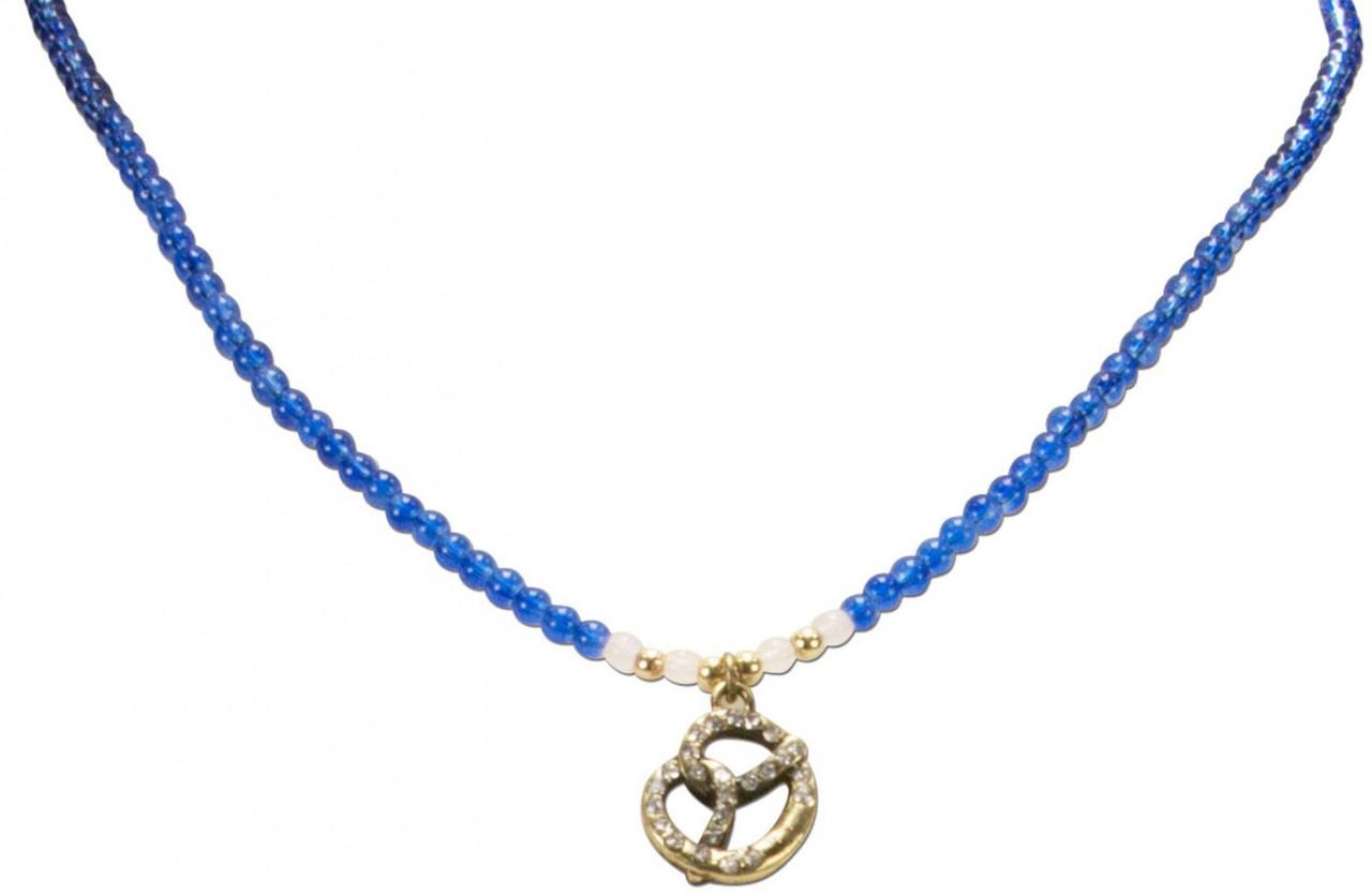 Perlenhalskette Strass-Brezel blau