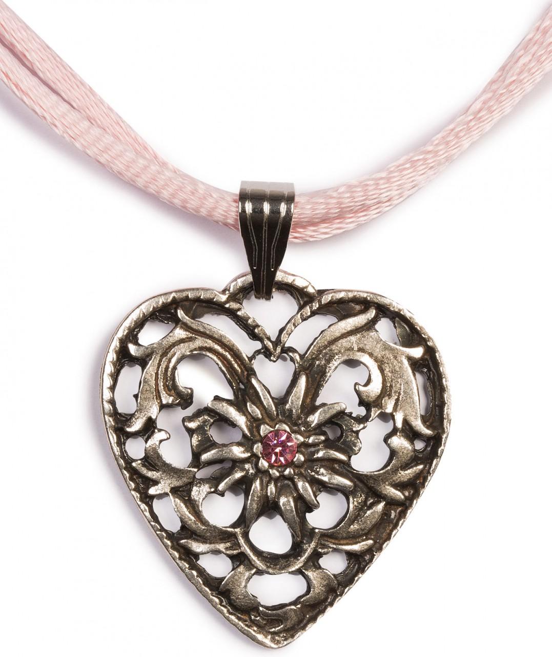 Herzkette mit Stein und 2 Satinbändern, rosa