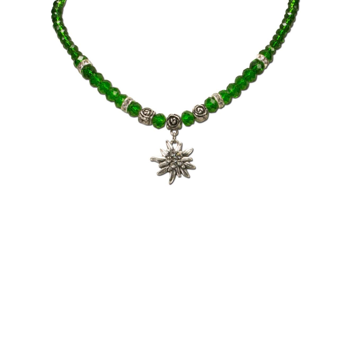 Perlenhalskette kleines Edelweiß grün