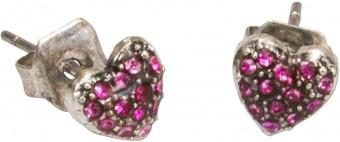 Kolczyki sztyfty Rhinestone Herzal różowe