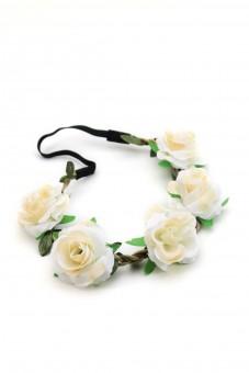Haarband mit Rosen in Weiß-Gelb