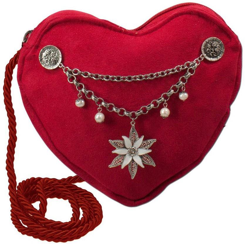 Herztasche mit Edelweiß Charivari rot