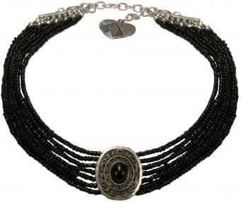Perlenkropfkette Alice schwarz