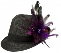 Trachtenhut Strohhut Federbrosche lila