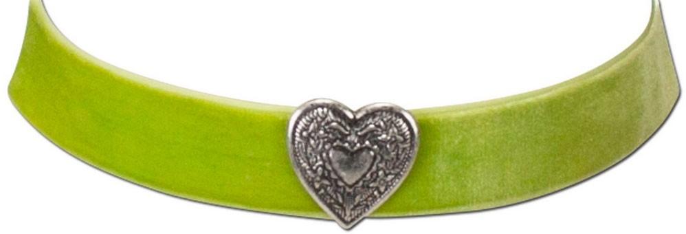 Samtkropfband breit mit Trachtenherz hellgrün