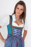 Luxurious 3-piece dirndl in blue with brown decor