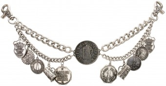 Charivari Chain with Beer Coins, Antique Silver