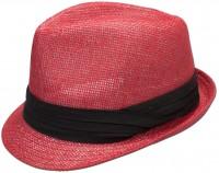 Vorschau: Trachten-Strohhut schlicht rot