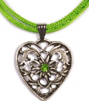 Herzkette mit Stein und 2 Satinbändern, apfelgrün