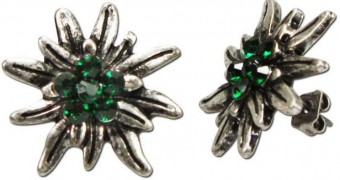 Earrings, Rhinestones, Old Silver-Green
