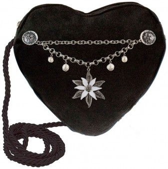 Heart-shaped Handbag with Edelweiß Charivari, Black