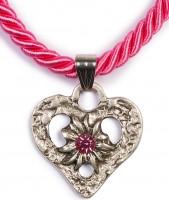 Vorschau: Kordelkette Herz mit Stein, pink