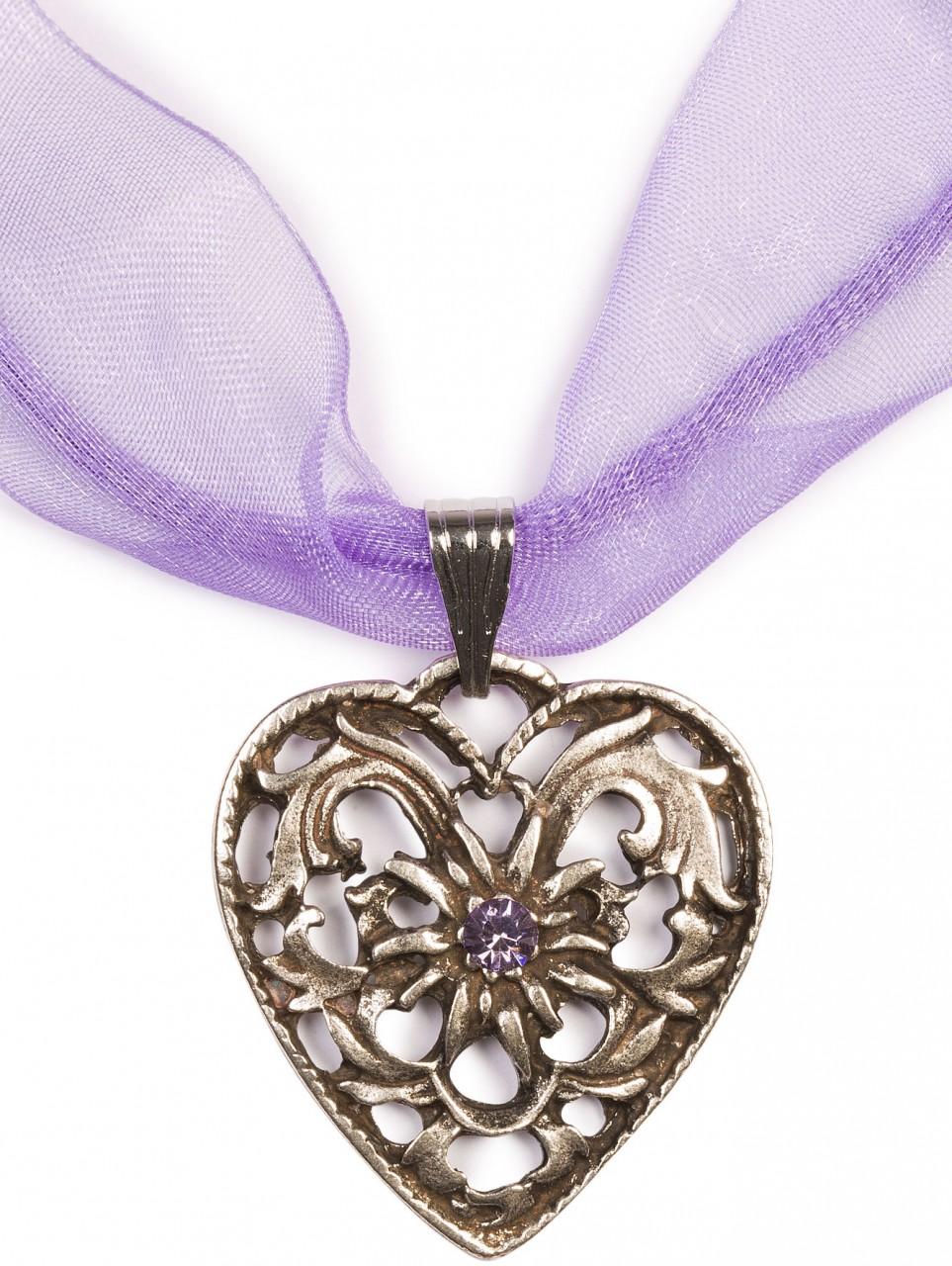 Chiffonband Herzkette mit Stein, lila