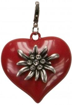 Trachten Edelweiss-Heart Pendant, Red