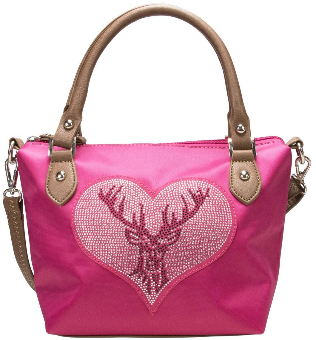 27e6c71e3f2b7 Trachten Handtasche mit Strass-Hirsch pink