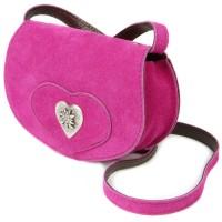 Vorschau: Wildledertasche in Herzform klein pink