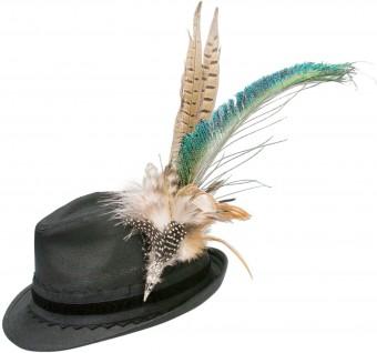 Trachten lniany kapelusz pawie pióro czarne