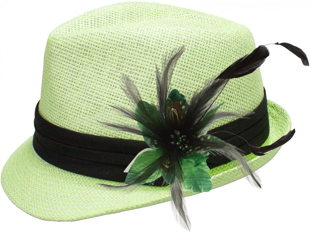 Strohhut Britta mit grüner Federbrosche