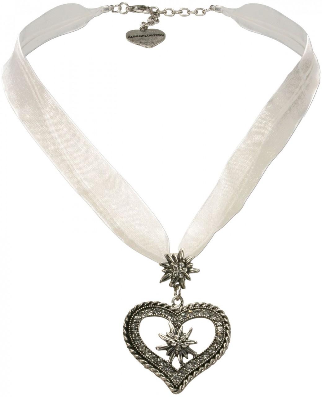 Organza Trachtenkette Maria weiß