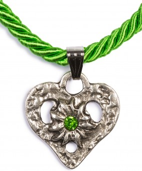 Braid Necklace with Heart Pendant, Apple Green