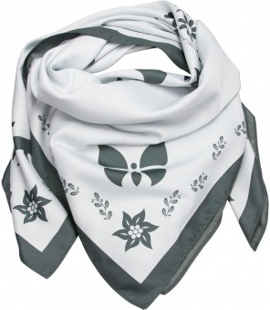 Neckerchief, Forest Print, White-Grey