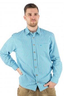 Trachten Shirt Bertl turquoise geruit