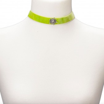 Thick Velvet Choker with Edelweiß, Light Green