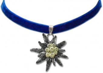 Velvet Choker with Edelweiß Pendant, Blue