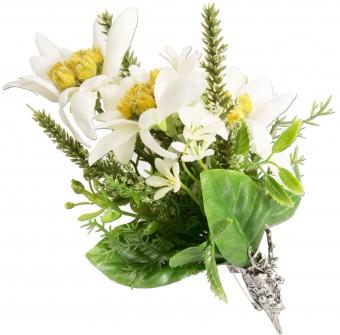 Trachten Brosche Edelweiß-Blüten