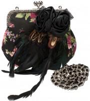 Vorschau: Trachtentasche Blumen Federn