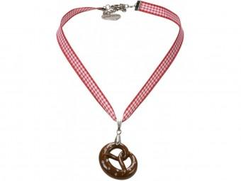 Trachten Halskette Brezel rot