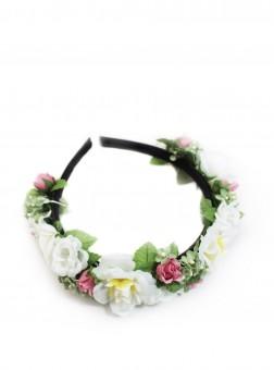 Bud-rose hoofdband wit-roze