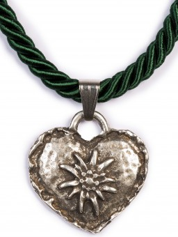 Braid Necklace with Edelweiss Heart, Fir Green