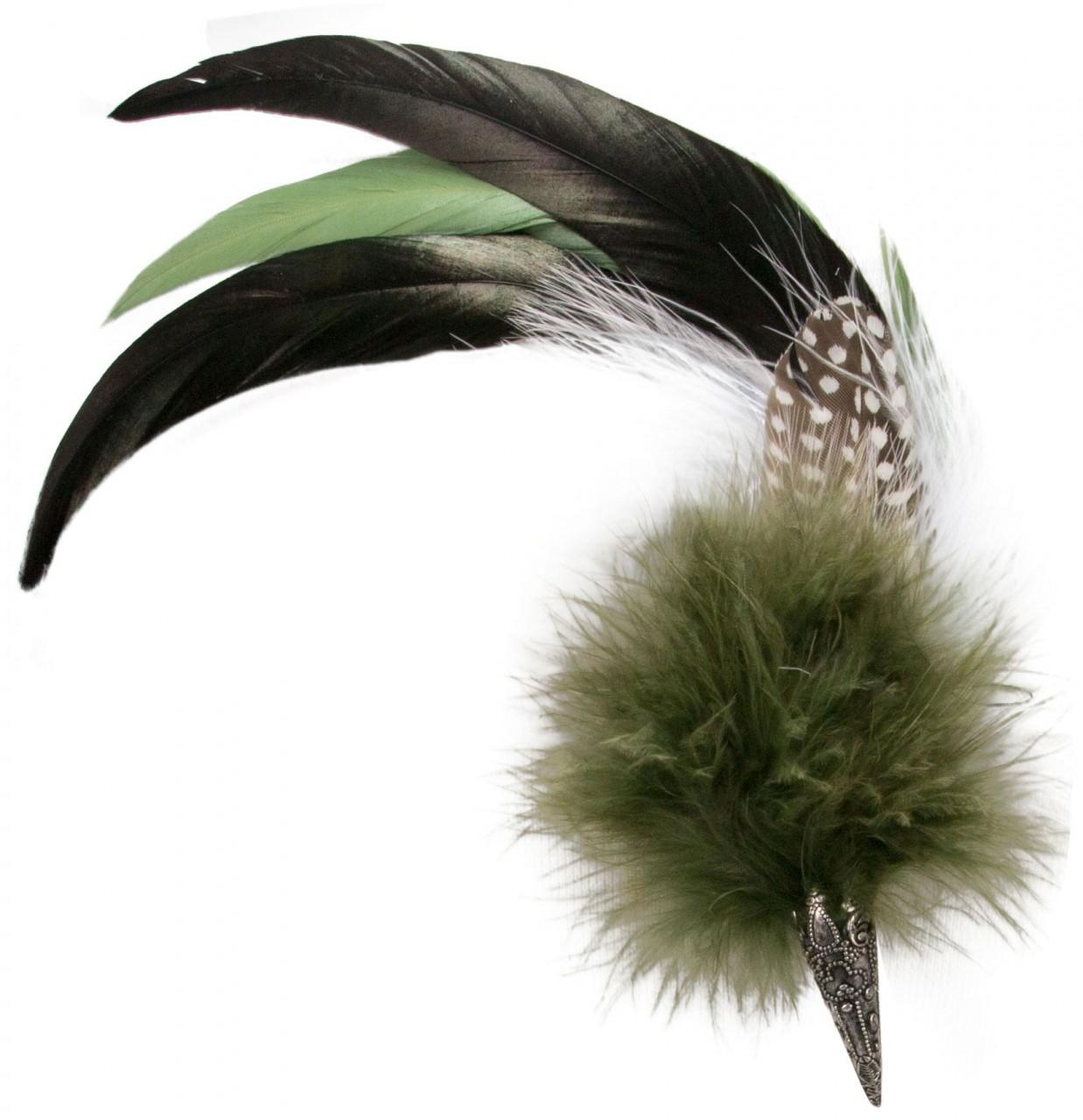 Hut-Brosche Hahnenfeder grün